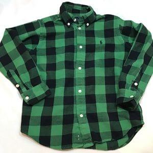 Ralph Lauren green, black buffalo plaid shirt.